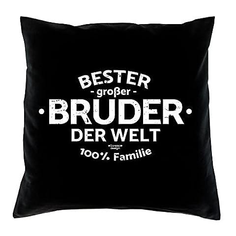 Geschenkidee Dekokissen Kissen mit Füllung :-: Bester großer Bruder der Welt Geburtstagsgeschenk Weihnachtsgeschenk Farbe:schwarz