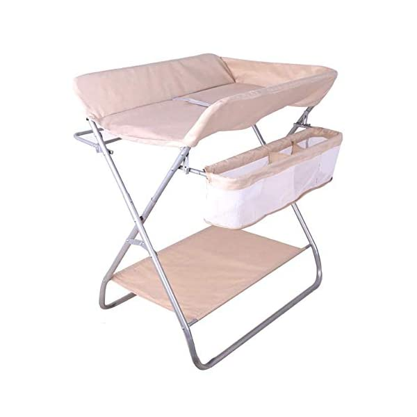Baby Changing Table Diaper Station Dresser for Infant/Children, Foldable Nursery Organizer, Cross Leg Style GUYUE 16cm safety fence height. Steel pipe + Oxford cloth + PP.(The diaper table has a bearing capacity of 20kg.) Size- As shown, 74x64x96cm(1cm=0.39 inch) Suitable for babies weighing less than 15kg. 1