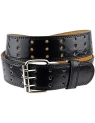 Merveilleuse ceinture unisexe en cuir véritable à trois trous. Classique et intemporelle, cette ceinture se porte au quotidien.