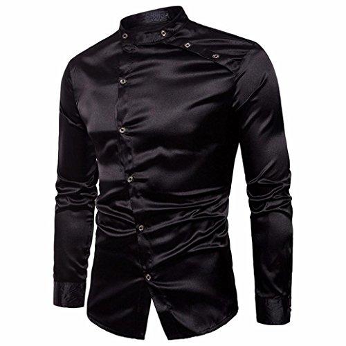 Rawdah Tencel Chemise à Manches Longues Mode Oblique Shirt Patte de Boutonnage Impression Slim à Manches Longues Occasionnels Shirts Bouton Formelle Imprimé Casual Top Pour Hommes (XL, D-Noir)