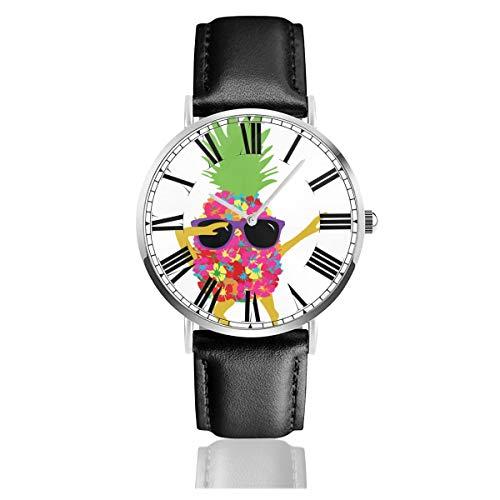 PecoStar Dabbing Cool Sunglasses Ananas Herren Damen Quarz Designer Armbanduhr Analog Display und Lederband - klassisches Design - Dress Watch - wasserdichte Armbanduhr