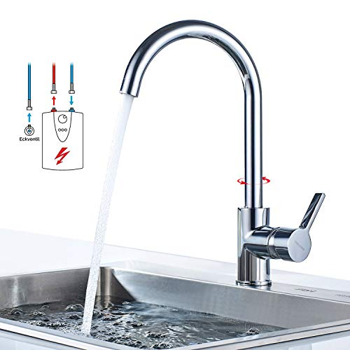 BONADE Niederdruck Küchenarmatur Wasserhahn Chrom Niederdruckarmatur Spültischarmatur Einhebelmischer Küche Spültisch Mischbatterie