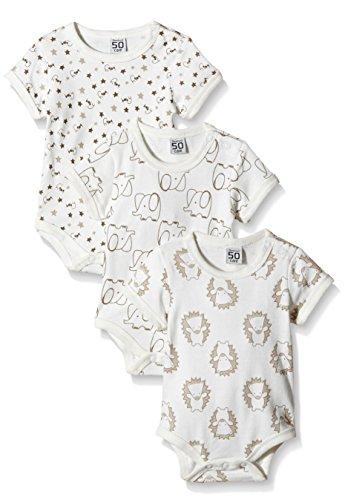 Care Unisex Baby Kurzarm-Body im 3er Pack, Elfenbein (Offwhite 200), 3 Monate (Herstellergröße: 62 )