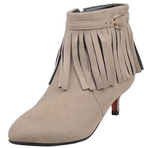 AIYOUMEI Damen Kitten Heel Kleiner Absatz Stiefeletten mit Fransen und Reißverschluss Kurzschaft Stiefel