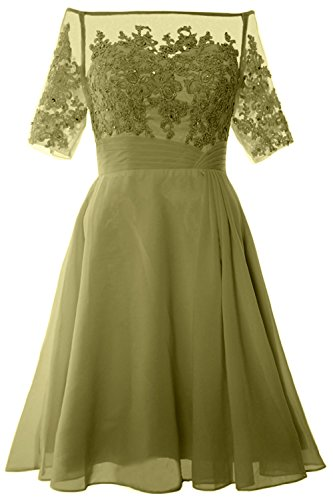 MACloth Women Off Shoulder Mother of Bride Dress with Sleeve Midi Cocktail Dress Olive Green