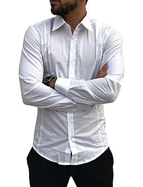 Camicia Uomo Slim Fit Cotone Elegante MADE IN ITALY Asso di Cuori M L XL XXL Elasticizzata Celeste Blu Bianca...