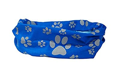 Reflective Blue Paw & Bone Print Dog Scarf/collar/bandana - Ruffnek® - Be Safe, Be Seen