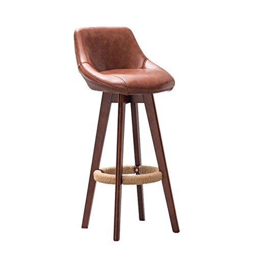 YFF~Barhocker Retro Bar Stuhl Bar Hocker Hanf Seil Sessel, Massivholz High Hocker Restaurant Haushalt Kreative Rückenlehne Esszimmerstuhl, drehbare PU Leder Kissen Frühstücks-Hocker (Garten Frühstück Kissen)