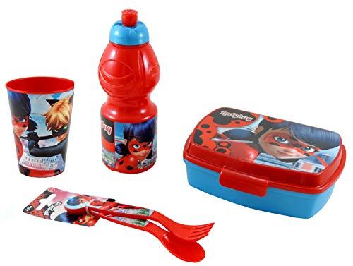 Lb set panzo bambina ladybug miraculous box merenda + borraccia + bicchiere + posate portapranzo bambini lunch box lady bug