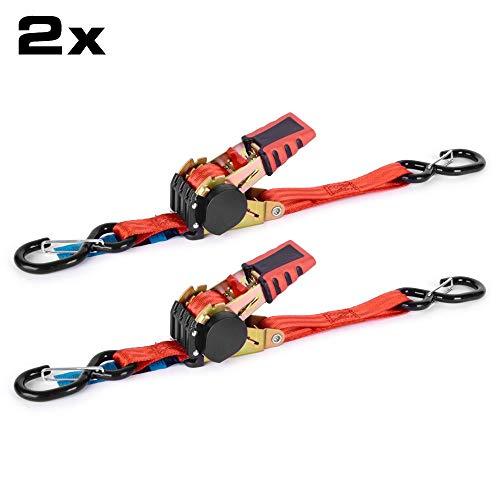 RACEFOXX Spanngurt, 2 Stück, Zurrgurt mit Automatik, Gurt, Ratsche, Ratschenspanngurte, rot