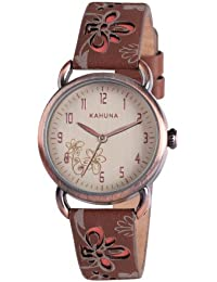 Kahuna Women's Quartz Watch with Beige Dial Analogue Display and Brown Leather Strap KLS-0250L