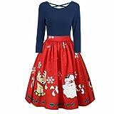 KOLY Da donna Moda manica lunga Plus Size Christmas Print pullover Cross Party Dress Abito di Natale Donna Annata Natale Maglia O-Collo Stampato Corto Manica A-Line Vestito da Swing (Red, 5XL)