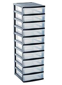 sundis 4165001 optimo tour de rangement avec 10 petites tiroirs polypropyl ne noir transparent. Black Bedroom Furniture Sets. Home Design Ideas