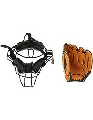 Gazechimp Protecteur Masque De Protection Visage de Baseball avec Gant De Baseball Casque Sports
