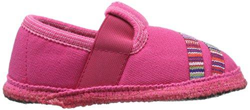 Haflinger Mädchen Streifchen Hausschuhe Pink (bonbon)
