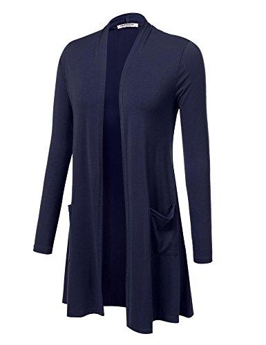 HOTOUCH Damen Cardigan Strickjacke Langarmshirt Mit Offener Wasserfall Strickmantel Langstrickjacke Navyblau