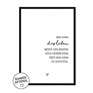 Leben vertiefen – Kunstdruck auf wunderbarem Hahnemühle Papier DIN A4 -ohne Rahmen- schwarz-weißes Bild Poster zur Deko im Büro/Wohnung/als Geschenk Mitbringsel zum Geburtstag etc.