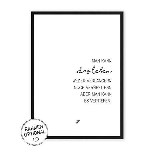 Leben vertiefen - Kunstdruck auf wunderbarem Hahnemühle Papier DIN A4 -ohne Rahmen- schwarz-weißes Bild Poster zur Deko im Büro/Wohnung/als Geschenk Mitbringsel zum Geburtstag etc.