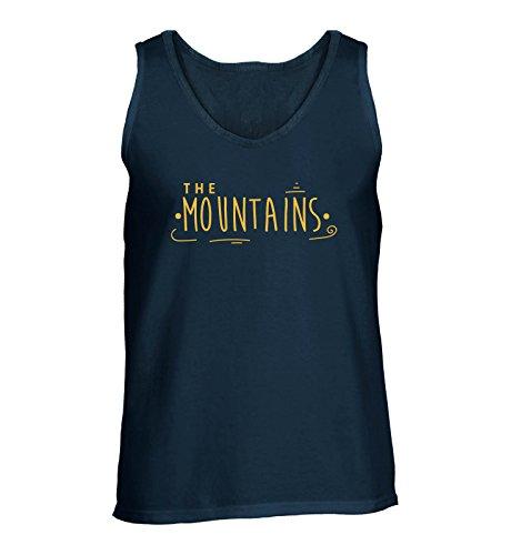 Comedy Shirts - The mountains - Herren Tank-Top - Navy / Gelb Gr. XL (Mountain-girl Top Tank)