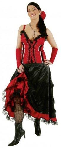 Faschingskostüm Damen Saloon-Girl rot-schw. Gr. 34