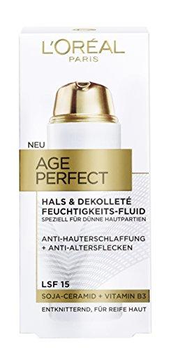 L\'Oreal Paris Age Perfect Hals und Dekolleté Feuchtigkeitspflege, mit Soja-Ceramid, entknittert und spendet Feuchtigkeit, 50 ml