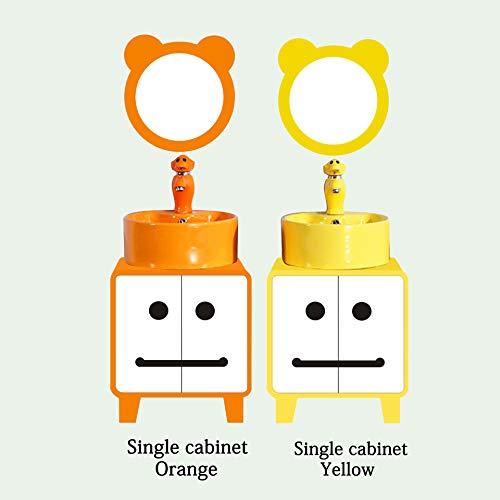 SNOLEK Kindergarten Farbe Kinderboden Badezimmerschrank Kombination Einzelschrank orange + Waschbecken + Spiegel + Wasserhahn 45