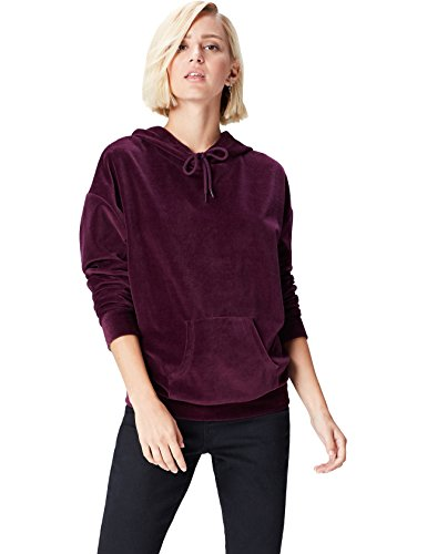 FIND Sweat-Shirt à Capuche Femme, Rouge (Burgundy), 44 (Taille Fabricant: X-Large)