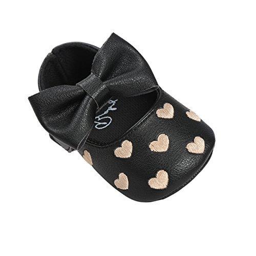 Scarpe per bambini Auxma Bowknot scarpe di cuoio ragazza scivolare morbide pantofole bambino singolo 3-18 mesi Nero