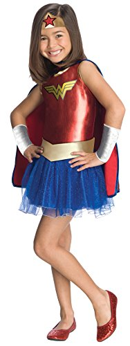 Official Wonder Woman Tutu Costume for Girls. Ages 3-6
