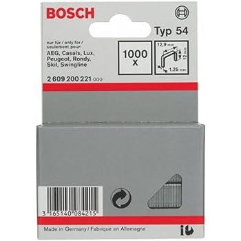 Silver 12 x 12.9 mm Bosch 2609200221 Fine Wire Staple Set of 1000 Piece