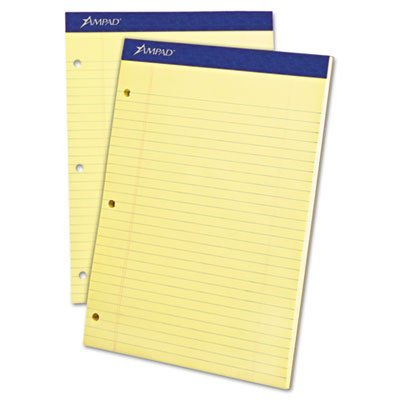 Preisvergleich Produktbild Evidence Dual Ruled Pad, Legal/Wide Rule, 8-1/2 x 11-3/4, Canary, 100 Sheets by Ampad