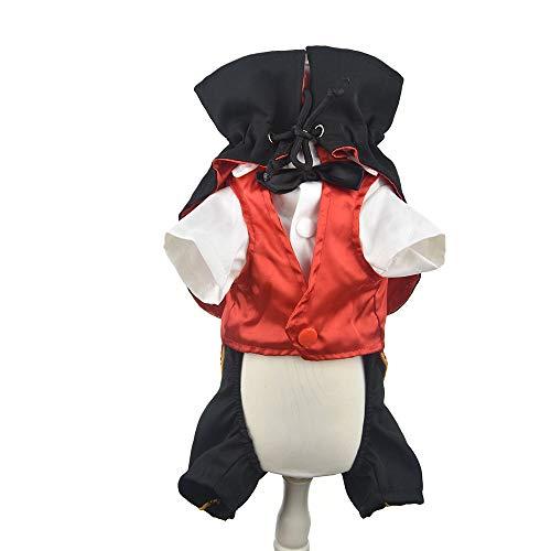 FLAdorepet Cool Hund Halloween Kostüm Outfits Vampir Umhang und Zauberer Anzug Set für Party, Hochzeit, Urlaub