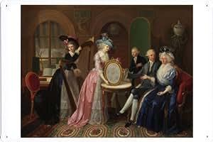 """Enseignes affiche en metal de oil painting Jan Bernard Duvivier - Portrait of the family Villers D 8""""x12"""""""