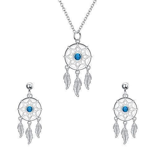 EVER FAITH Damen Schmuckset 925 Sterling Silber Türkis Böhmischen Dreamcatcher Traumfänger Anhänger Halskette Ohrringe Set für Frauen Mädchen (Set)