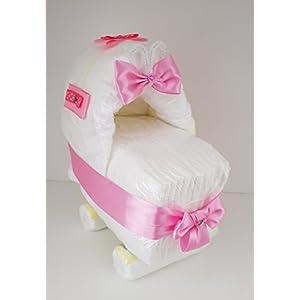 Windeltorte, Windelkinderwagen, Windelwagen, Geschenk zum Geburt, Taufe, Babyparty Mädchen, Windeln Pampers Gr.2
