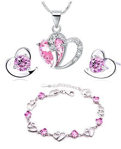 , rosa, blau weiß Kristall-Herz Silber Anhänger Halskette + Ohrring + Armband für Frauen Mädchen. (F497) (rosa Kristall-Set) ()