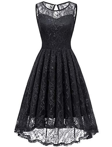 Gardenwed Damen Kleid Retro Ärmellos Kurz Brautjungfern Kleid Spitzenkleid Abendkleider CocktailKleid Partykleid Black XL Black Lace Abendkleid