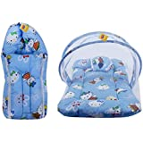 FARETO New Born Baby Gift Pack Mattress with Mosquito Net & Sleeping Bag Combo Teddy Print 0-6 Months (0-6 Months, Blue)