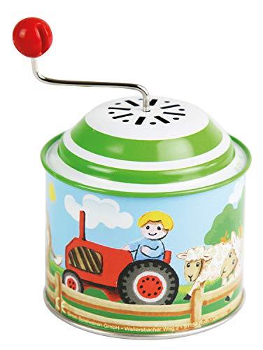 Bolz 52760 Musikdrehdose Bauernhof, Orgel ca. 10,5 x 7,5 cm, Blechdrehdose mit Melodie Old Mc Donald Has a Farm, Drehdose aus Metall, Drehorgel für Kinder ab 18m+, bunt