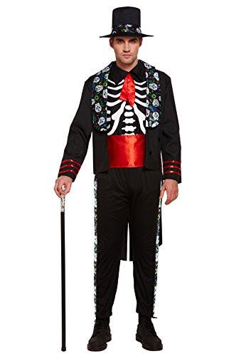 Emmas Wardrobe Tag der toten mexikanischen Outfit - Mit Skeleton Top, Hut, Gürtel Jacke und Hose - Steampunk Kostüm für Halloween oder Parades - hochwertige Materialien - UK Größen M L XL (Men: Large) (Der Toten-kleiderschrank Tag)
