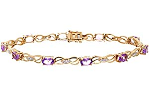 Naava 0.05 ct Diamond with Amethyst Prong Setting Bracelet in 9 ct Yellow Gold