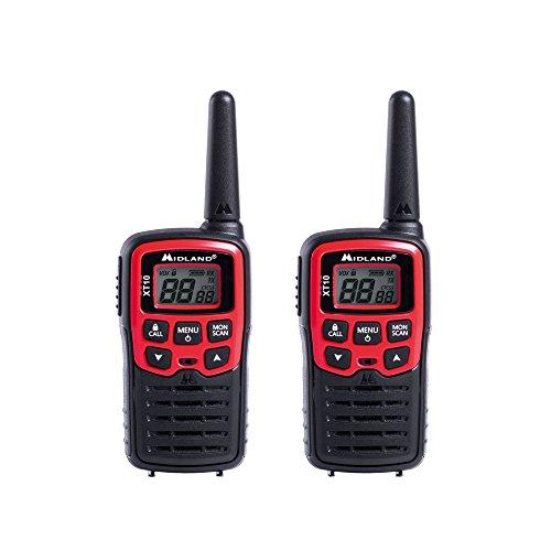 Midland XT10 PMR-Funkgerät für Einsteiger, Walkie Talkie mit hervorragender Sprachqualität und geringer Störanfälligkeit, Farbe: rot