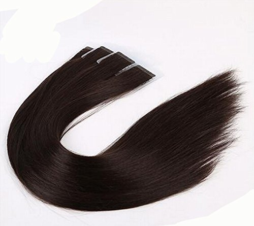 Romantic Angels® 20 bandes adhésives extensions de cheveux humain, 60 cm de longueur - 100% de haute qualité, Coleur:#2 brun foncé