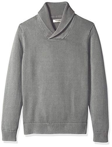 Schalkragen-pullover (Goodthreads Herren Pullover aus weicher Baumwolle mit Schalkragen, Grau (washed grey Wgr), Gr. Large)