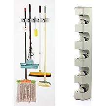 TOOGOO (R) 5 Posizione Kitchen Storage Mop Scopa Organizzatore MOP & SCOPA Supporto a parete montato - Baseball Angolo