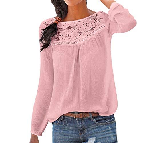 Riou-Giacca Camicie da Donna Collo a V Bluse Manica Lunga Botton Down Taglia S-2XL