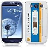 Etui de créateur pour Samsung Galaxy S3 i9300 - Etui / Coque / Housse de protection blanc, bleu et orange en TPU/gel/silicone avec motif cool cassette rétro