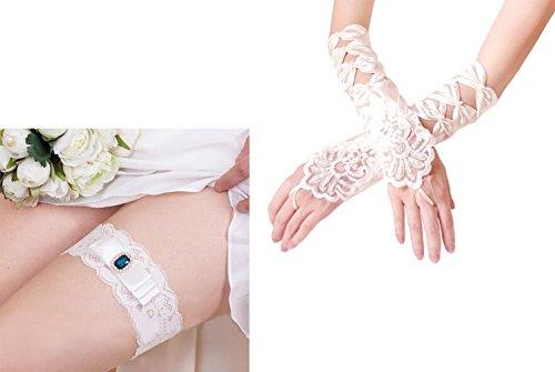Hochzeit Strumpfband Elastizität und Handschuhe Fingerlose Satin Brautkleid Braut Accessoire Weiß