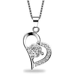 YHmall Collar Mujer Plata de Ley 925 Circonita Collar Corazón Cadena 45cm Regalo de San Valentin Navidad