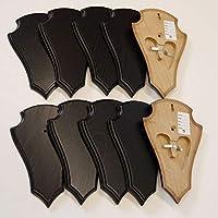 10 unidades REH Bock cartel trofeos placa puntiaguda con 2 compartimento de pino en roble oscuro AF 20,5 x 13 cm